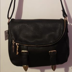 MMS Black Convertable Crossbody with Gold Deets